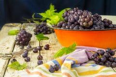 Uvas frescas azules en cuenco anaranjado del metal Imagen de archivo libre de regalías