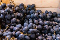 Uvas frescas para a venda em uma caixa de madeira no mercado de fruto imagens de stock