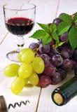 Uvas, garrafa, corkscrew e vidro vermelhos e verdes do vinho tinto Imagem de Stock Royalty Free