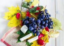 Uvas, hojas y queso Imagen de archivo