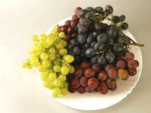 Uvas jugosas o un marco con la uva en el blanco Foto de archivo