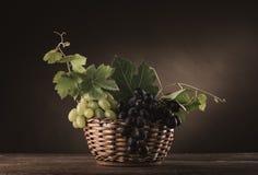 Uvas maduras en todavía de la cesta una vida Fotografía de archivo libre de regalías