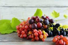 Uvas mezcladas en los tableros Fotografía de archivo