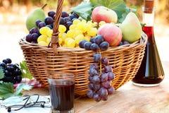 Uvas na cesta de vime e no vinho tinto Imagens de Stock Royalty Free