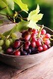 Uvas nas folhas de madeira da tabela e da uva Uvas para vinho saudáveis de fruto fresco Imagens de Stock