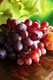 Uvas nas folhas de madeira da tabela e da uva Uvas para vinho saudáveis de fruto fresco Fotos de Stock Royalty Free