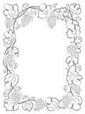 Uvas negras de la vid de la etiqueta del vino del marco de la caligrafía Fotografía de archivo libre de regalías