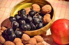 Uvas, nueces y manzana Imágenes de archivo libres de regalías
