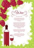 Uvas rojas del diseño de la carta de vinos Foto de archivo libre de regalías