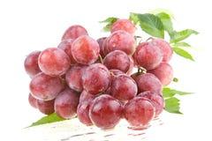 Uvas rojas jugosas mojadas Fotografía de archivo libre de regalías