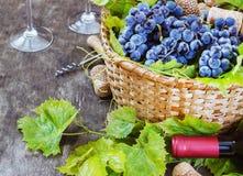 Uvas, uma garrafa do vinho, cortiça e corkscrew em uma tabela velha de madeira, estilo rústico Foto de Stock