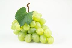 Uvas verdes con la hoja. Aislado en blanco Fotografía de archivo libre de regalías