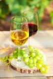 Uvas verdes y dos vidrios del vino blanco y rojo en el VI Fotografía de archivo libre de regalías
