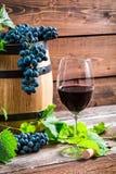 Uvas vermelhas e um vidro do vinho tinto Imagem de Stock Royalty Free