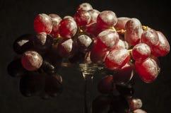 Uvas vermelhas em um fundo escuro iluminado por luzes para o fundo bonito agradável e a indicação saudável do estilo de vida foto de stock
