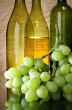 Uvas y botellas de vino Imagen de archivo libre de regalías