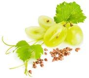 Uvas y semillas de la uva Foto de archivo libre de regalías