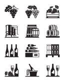 Uvas y sistema del icono del vino