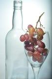 Uvas y una botella vacía de vino Foto de archivo