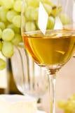Uvas y vino blanco Fotografía de archivo