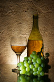 Uvas y vino blanco Imagen de archivo libre de regalías