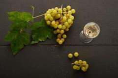 Uvas y vino en un vidrio Imagenes de archivo