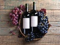 Uvas y vino rojo Imagen de archivo libre de regalías