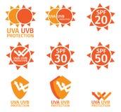 UVembleem, uva uvb en spf met oranje kleur Royalty-vrije Stock Fotografie