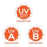 UVembleem, uva uvb en spf met oranje kleur Stock Foto's