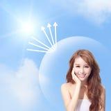 UVsorgfalt- und Frauengesicht mit Sonnenschein lizenzfreie stockbilder