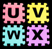 UVWX Alphabet learning blocks isolated Black Royalty Free Stock Photography