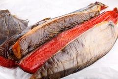 Uwędzona ryba - czerwony łosoś, halibut, flądra obrazy royalty free