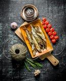 Uwędzona ryba z pikantność, pomidorami i starą dratwą, zdjęcie royalty free