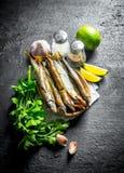 Uwędzona ryba z plasterkami, ziele i pikantność wapna, fotografia royalty free