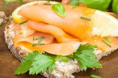Uwędzonego łososia i Kremowego sera Canape obraz royalty free