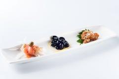 Uwędzony łososia i ślimaczka mięso, czarne fasole Obraz Royalty Free