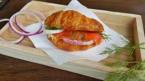 Uwędzony łososiowy croissant Zdjęcia Royalty Free