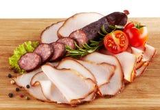 Uwędzony mięso i kiełbasy Zdjęcia Royalty Free