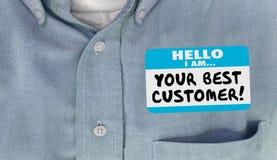 Uw Beste Naamplaatje Loyal Client van Klantenhello Royalty-vrije Stock Foto