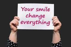 Uw glimlach verandert alles Royalty-vrije Stock Afbeelding