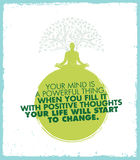 Uw Mening is een Krachtig Ding Wanneer u het vult zal Wit Positive Thoughts Your Life beginnen te veranderen Inspiratiecitaat royalty-vrije illustratie