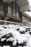 UW-Milwaukee Student Union Entrance in Winter, Milwaukee Stock Photo