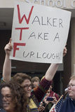 UW-Milwaukee Union-Rights Rally Stock Photo