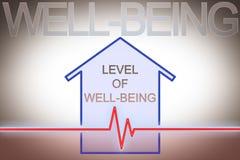 Uw niveau van welzijn in huis - conceptenbeeld met controlegrafiek vector illustratie