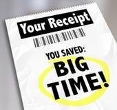 Uw Ontvangstbewijs u bewaarde de Korting van de de Aankopenverkoop van de Topopslag Royalty-vrije Stock Afbeelding
