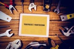 Uw project, uw vrijheid tegen blauwdruk Stock Foto's