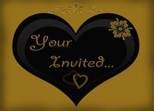 Uw Uitgenodigde Zwarte Gouden Kaart van het Hart Royalty-vrije Stock Fotografie