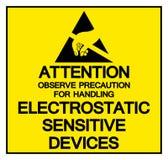 Uwaga Obserwuje środek ostrożności Dla Obchodzić się Elektrostatycznego Wyczulonego przyrządu symbolu znaka, Wektorowa ilustracja ilustracja wektor