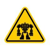 Uwaga robot Ostrożność drogowego znaka cyborga wojownika żółta przyszłość royalty ilustracja