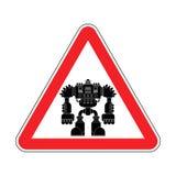 Uwaga robot Ostrożność drogowego znaka cyborga wojownika czerwona przyszłość Ve ilustracja wektor